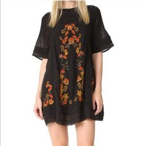 Free People Victorian Dress Black Orange Floral M